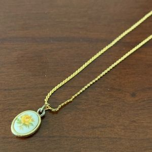 Yellow Rose and Gold Toned Necklace